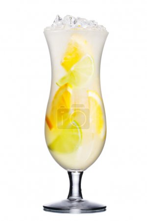 Photo for Alcoholic cocktail in hurricane glass with lime and orange slices. Fresh, clean look. - Royalty Free Image
