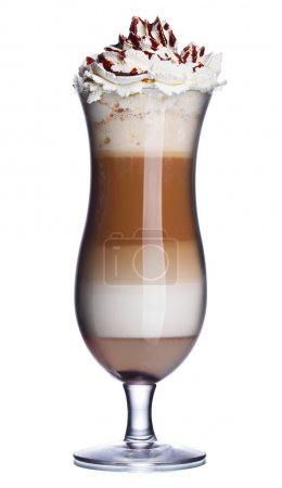 Photo for Glass of coffee cocktail with whipped cream and chocolate syrup - Royalty Free Image