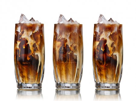Photo for Collection of highballs filled with Dublin iced coffee with cream - Royalty Free Image