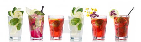 Photo for Collection of mojito cocktails with strawberry,blueberry, apple. - Royalty Free Image