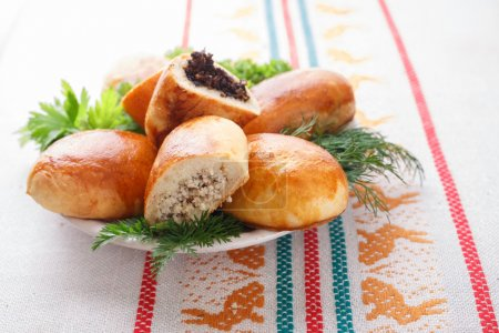 wooden, baked, herbs, fried, pastel, russian - B83418940
