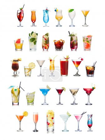 Photo for Set of isolated cocktails and mocktails with fruits in highball glasses. Garnished, decorated, colorful, clean,vivid colors. World popular - Royalty Free Image