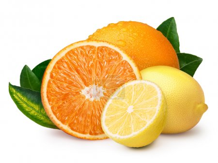 Whole and halved lemon with orange