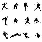 Baseball Set Of Twelve Black Vector Silhouette Illustrations