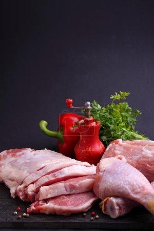Chicken, pork, veal