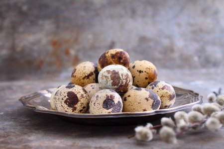 quail eggs in a metal plate
