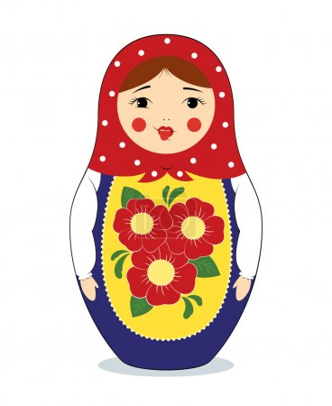 Illustration for Vector colorful illustration of a russian nesting doll Matryoshka making funny face, showing her tongue. Bright colors, traditional ornaments. Isolated on white. - Royalty Free Image