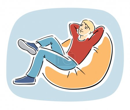 Young blond guy resting on a bean bag chair