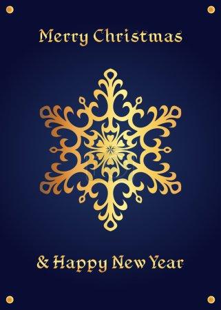 Elegant golden snowflake on a deep blue background, christmas card