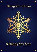 Elegant golden snowflake on a deep blue background christmas card