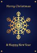 Elegant golden snowflake on a deep blue background christmas card
