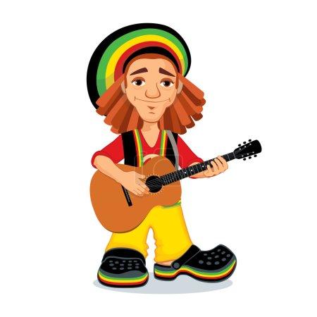 Rasta playing acoustic guitar