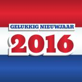 Vector New Year 2016 greeting card design with text in Dutch