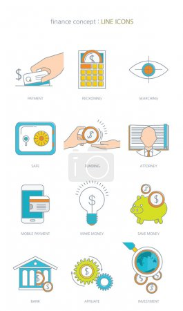 Finance and banking business concept line icons set