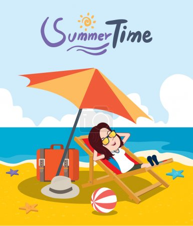 Summer holidays vector illustration,flat design beach and girl concept