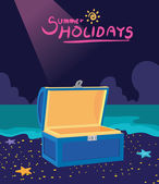 Summer holidays vector illustrationflat design treasure box and hunting concept