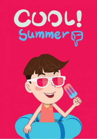 Summer holidays vector illustration,flat design cute kid and sweet icecream concept