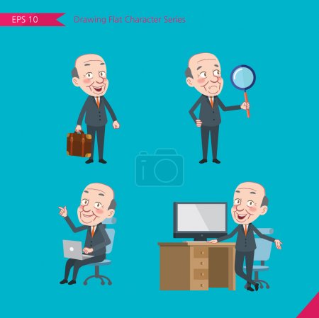 Set of drawing flat character style, business concept ceo activities - businessman, research, office worker, counselling