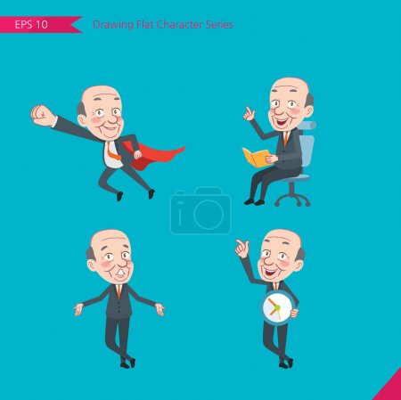 Set of drawing flat character style, business concept ceo activities - business hero, Question, time management, Knowledge