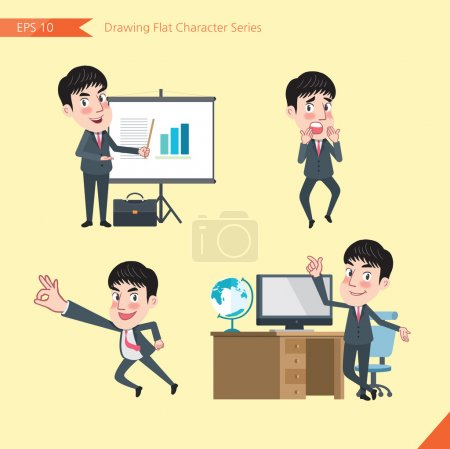 Set of drawing flat character style, business concept young office worker activities - presentation, Surprised, ok sign, troubleshooter