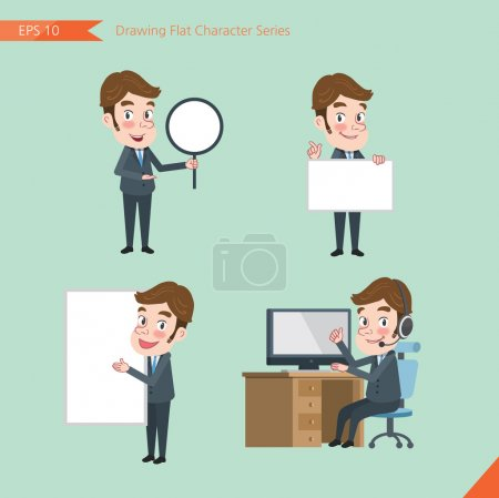 Set of drawing flat character style, business concept young office worker activities - banner, whiteboard, computing, telemarketing, introduction
