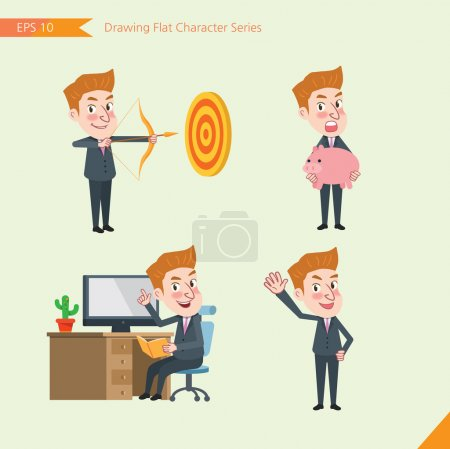 Set of drawing flat character style, business concept young office worker activities - hit, piggy bank, Consulting, farewell