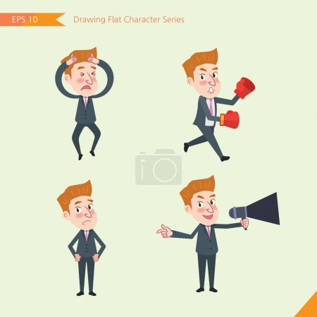 Set of drawing flat character style, business concept young office worker activities - Disappointment, notice, boxing, confidence, Competition