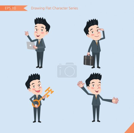 Set of drawing flat character style, business concept handsome office worker activities - introducing, greeting, master key, global business