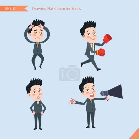 Set of drawing flat character style, business concept handsome office worker activities - Disappointment, notice, boxing, confidence, Competition
