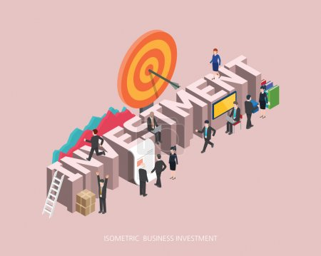 Illustration for Flat 3d isometric vector illustration investment concept design, Abstract urban modern style, high quality business series - Royalty Free Image