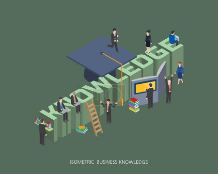 Illustration for Flat 3d isometric vector illustration knowledge concept design, Abstract urban modern style, high quality business series. - Royalty Free Image