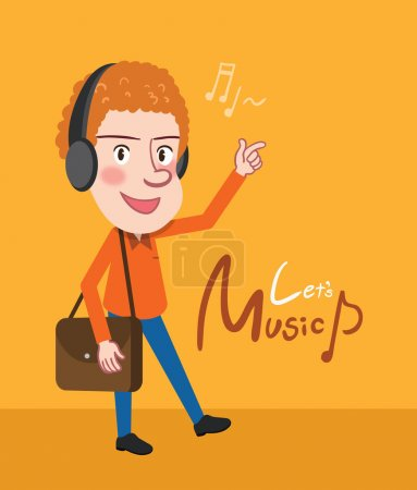 Drawing flat character design business man enjoy music concept,vector illustration