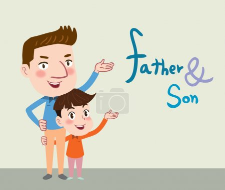 Drawing flat character design father and son conce...