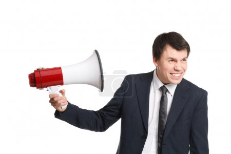 businessman isolated on white shouts in loudspeaker