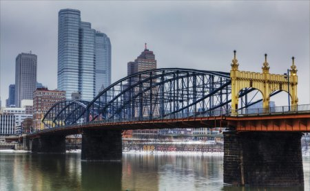 Colorful bridge with Pittsburgh, Pennsylvania skyline