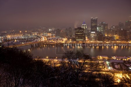 The Pittsburgh, Pennsylvania skyline at night
