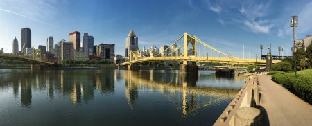 Panorama of the Pittsburgh city center between two bridges