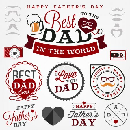 Happy Father's Day Badges and Labels in Vintage Style