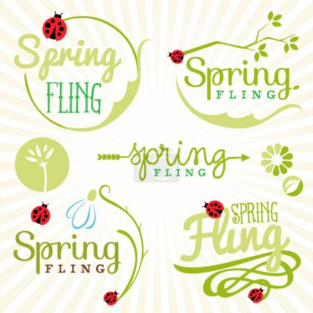 Spring Design Elements. Labels and Badges