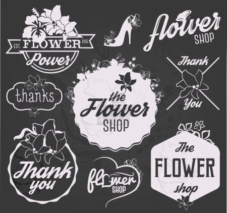 Photo for Flower Shop Design Elements, Labels and Badges in Vintage Style - Royalty Free Image
