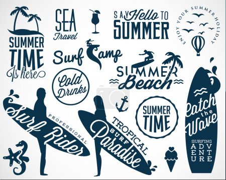 Illustration for Surfer Vector Elements in Vintage Style - Royalty Free Image