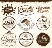 Chocolate Design Elements Labels and Badges in Vintage Style