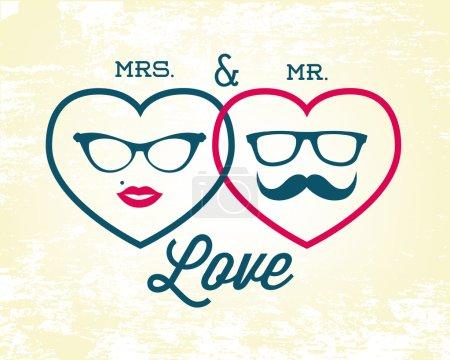 Illustration pour Mme et M. Love Vector Illustration in Vintage Style. Modèle de contexte de la Saint-Valentin - image libre de droit