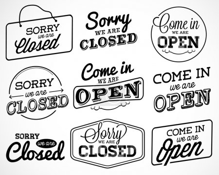 Open and Closed Business Labels and Badges in Vintage Style