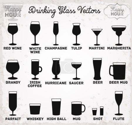 Illustration pour Silhouettes en verre à boire. Illustration vectorielle - image libre de droit
