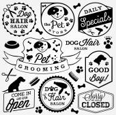 Collection of Pet Hair Salon and Store Badges in Vintage Style Vector Design Elements