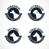 Dog Silhouettes Vector Collection Vintage Dog Badges