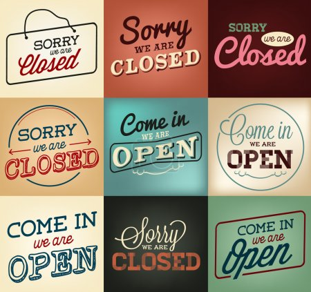 Colorful Open and Closed Business Labels and Badges in Vintage Style