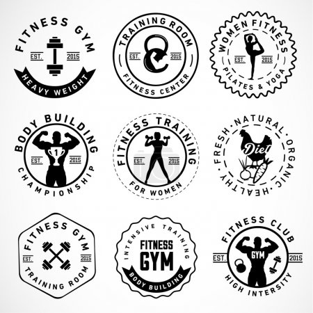 Sports, Fitness, Body Building, Yoga Badges and labels in Vintage Style