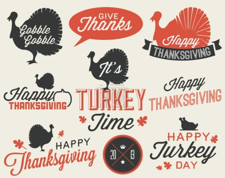 Illustration for Set of Thanksgiving Vector Calligraphic Illustrations in Vintage style - Royalty Free Image